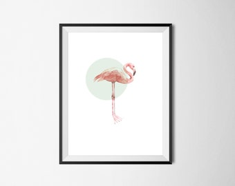 Geo flamingo print