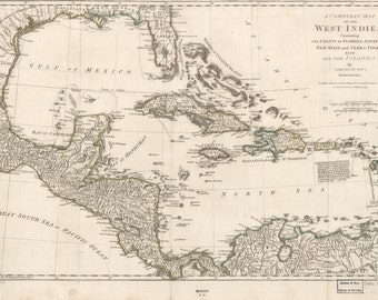 West Indies Historical Map - 1794