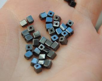 Set of 50 3 cube beads / 3.5 mm stone semi precious black hematite