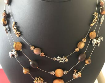 Chico's Neck Candy Layered Charm Shell and Stone Decorative Short Necklace