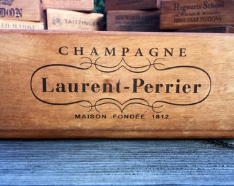 Vintage Laurent-Perrier Champagne Wooden Handcrafted Rustic Storage Box