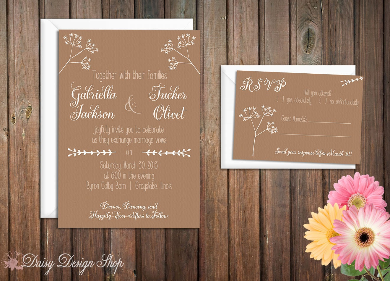 Textured Paper For Wedding Invitations: Wedding Invitation Greenery Sketches On Textured Background