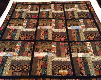Quilted Oriental Motif Throw Browns Black