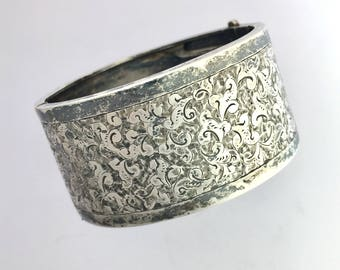 Victorian Aesthetic Movement Foliate Engraved Wide Silver Bangle