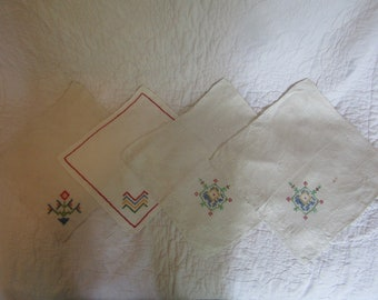 4 Vintage Embroidered linens lot Not Perfect