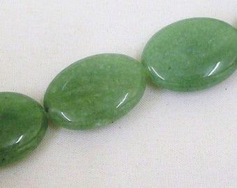 16'' Natural Green Aventurine Gemstone 18x25mm Flat Oval Loose Beads