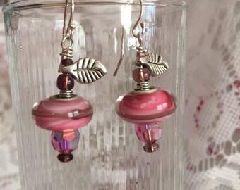 Swirly Pink Merano Glass Bead Earrings