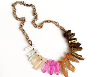 Gradient Quartz Statement Necklace, Pink Gold Chunky Necklace, Ombre Necklace