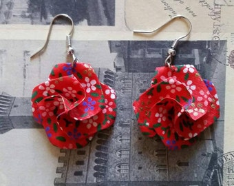 Red Origami Paper Earrings