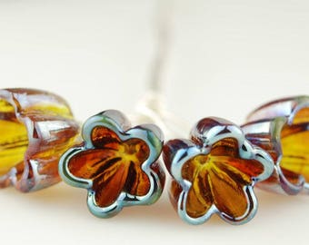 Handmade Iridescent Amber Pink Glass Bellflower Lampwork Headpins by Lara