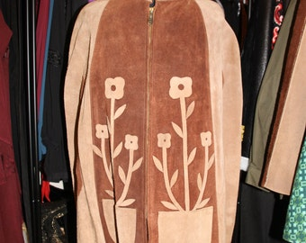 Flower Power-Beautiful Late 60's West Coast Tan and Chocolate Suede Cape With Flower Cut-Out Detail