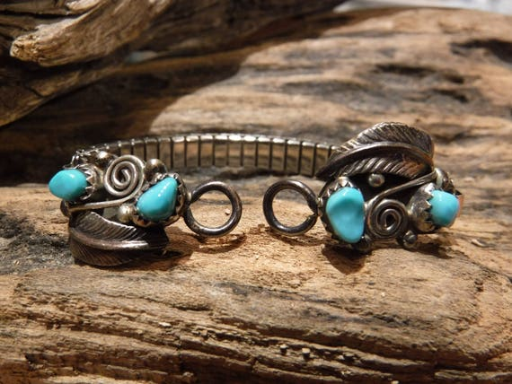 Native American Watch Tips Navajo Vintage Sterling Silver Sleeping Beauty Turquoise Sterling Watch Tips  12.1 Grams Turquoise Watch Tips