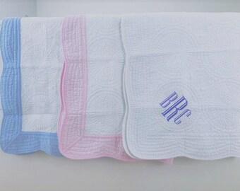 Monogrammed Blanket   Personalized Baby Crib Quilt   Baptism, Baby Shower Gift, Stroller Blanket
