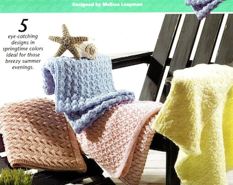 Annie's Attic 872891 SPRINGTIME THROWS  5 Knitting Patterns Melissa Leapman AFGHANS