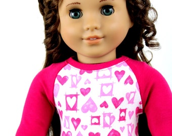 Fits like American Girl Doll Clothes - Hot Pink Valentine's Day Baseball Tee | 18 Inch Doll Clothes