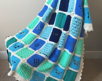 Crochet Pattern Blanket Seaside Garden Throw Afghan Baby or Adult Sizes PDF 17-315