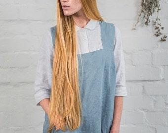 Linen pinafore / Square cross linen apron/ Japanese apron. Washed swedish blue long apron.