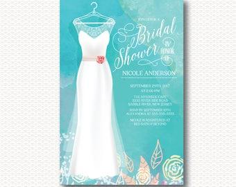 Bride Gown, Bridal Shower Invitation, Bride, Flowers, Elegant, Modern, Blue, Wedding, Watercolor, Typography, Digital, Printable, Unique