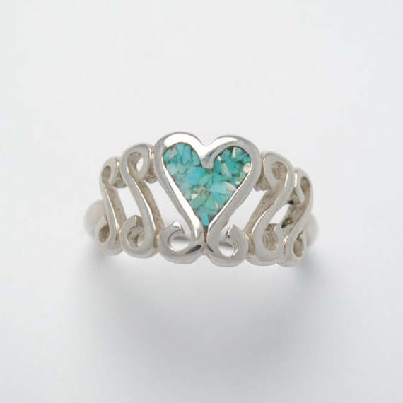 Heart ring - love ring - valentine day's ring - turquoise ring - vintage ring - woman ring