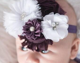 plum headband, white headband, flower headband, purple headband, flower girl headband, girl birthday gift, eggplant elastic headband, bridal