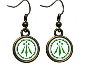 Celtic Symbol - The Awen - Three Rays of Light - Green on White Earrings