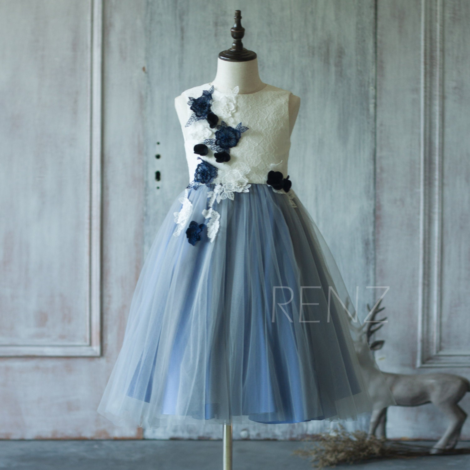Junior bridesmaid dress steel blue flower girl dresswhite zoom ombrellifo Choice Image