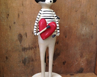 Heart Bandit, Raccoon, Heart, Love, Spring, Folk Art, Paperclay