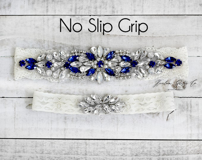 Wedding Garter, Something Blue, NO SLIP Lace Wedding Garter Set, bridal garter set, vintage rhinestones