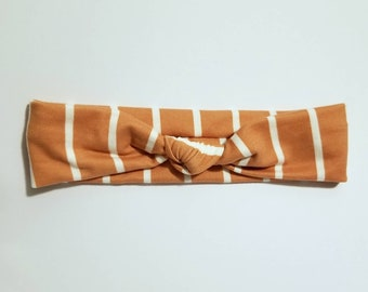 Striped top knot headband