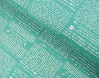 Ardently Austen - Austen Text (Teal) - Amanda Herring - Riley Blake Designs