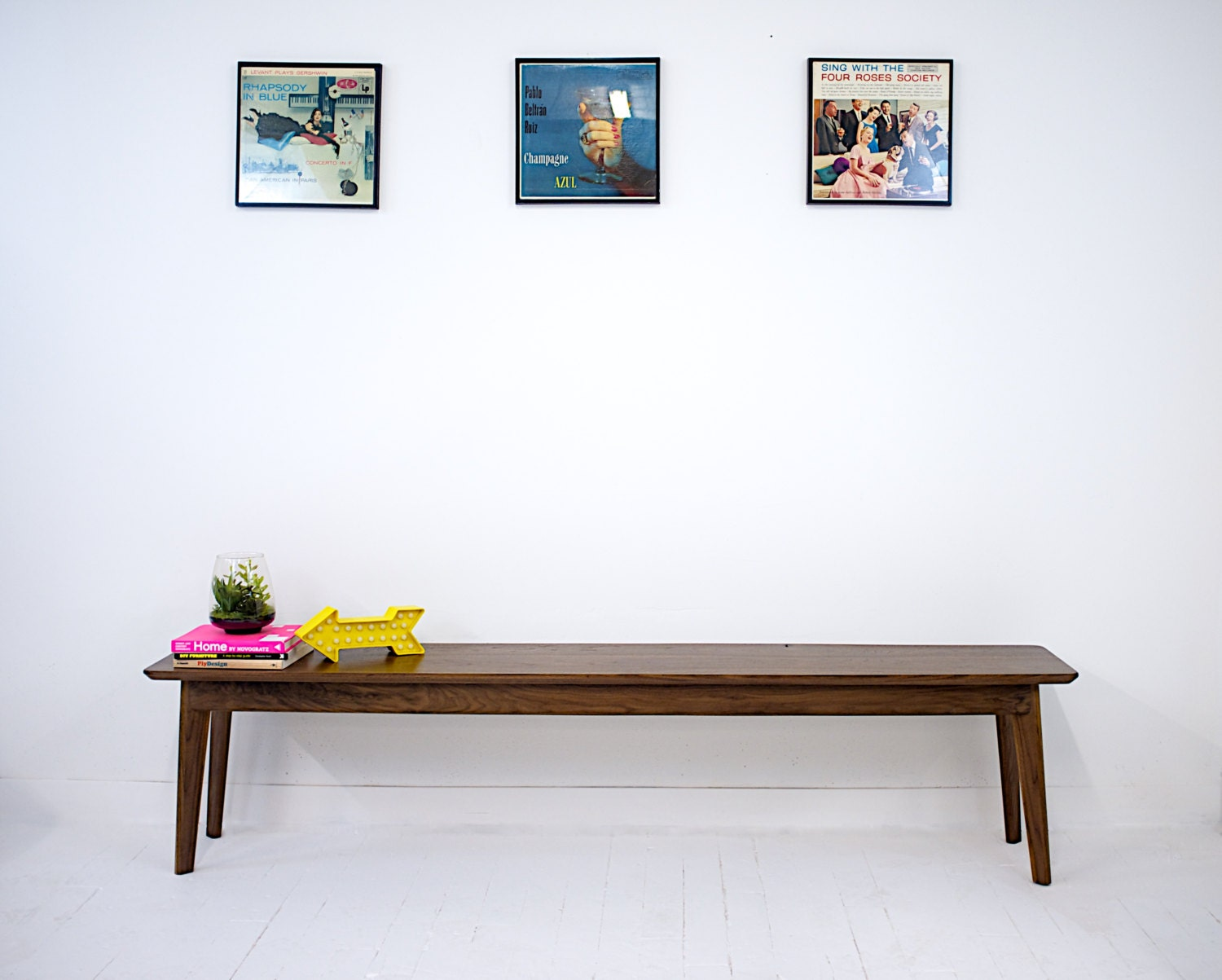 🔎zoom. mid century modern inspired walnut bench dining table bench