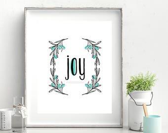 Joy Flowers Printable Poster (Aqua)
