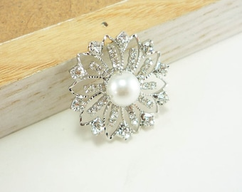 Round Pearl Rhinestone Button - Flower Petal, button shank, crystal button, pearl button (30mm, 1pc)