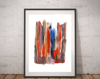 "Abstract blue orange painting, Modern Colorful painting, Contemporary colorful art, Office abstract art, New job gift, ""Cracks in the walls"""