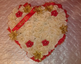 Flower tribute grave funeral heart