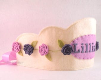 Felt Crown with Roses, Birthday Crown, Wool Felt Crown,  Personalized Crown, First Birthday, Photo Prop, Smash Cake