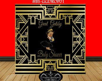 Great Gatsby Baby Shower Backdrop | Art Deco | Princess Backdrop | Black and Gold Backdrop | Birthday Backdrop