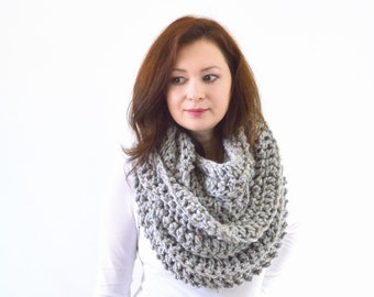 Knit Crochet Chunky Woman Men Infinity Scarf | The Dresden