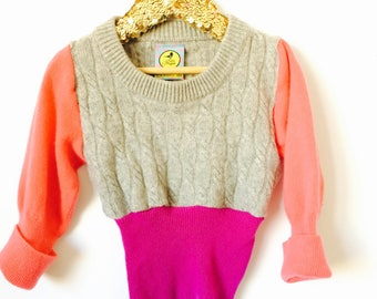 SOFTIE 2-3 Kids Childrens Cashmere Jumper Handmade Top Sweater Pullover Pulli Upcycled Thermal Cashmere Unisex