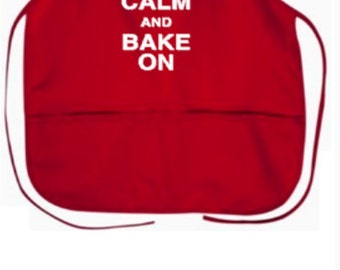 "Keep Calm and Bake On With Gingerbread 2 pocket 24"" Apron"