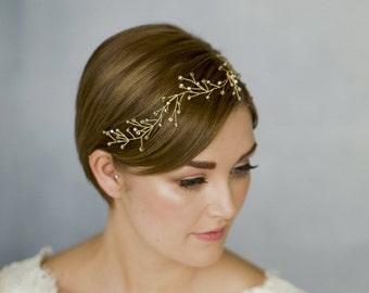 Gold bridal hair vine, gold woodland hair vine, gold rustic wedding hair vine, twig hair vine, Gold or Silver bridal hairvine - Rosemary