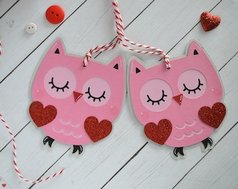 Owl Valentine Gift Tags, Pink Owl Tags, Valentine's Day Tags, Hang Tag, Owl Valentine Gift, Owl Love, Owl Gift, Valentine Tag, Owl Tags