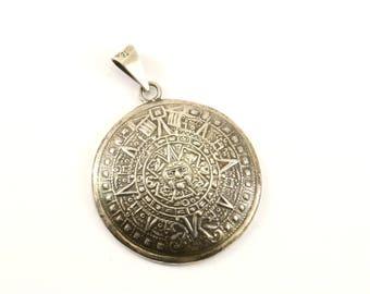 Mayan pendant etsy vintage large aztec mayan calendar pendant 925 sterling silver pd 1725 aloadofball Image collections