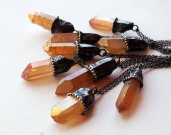 Medium Tangerine Aura Quartz Crystal Necklace // Small Orange Quartz Crystal Point Minimal Layering Necklace