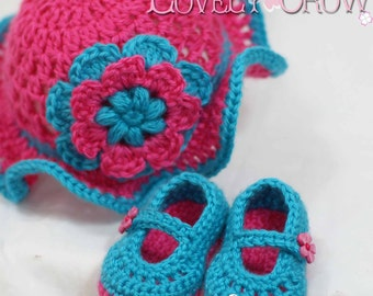 Baby Girl Crochet Patterns Teaparty Set.  Includes patterns for Teaparty Hat, and Teaparty Mary Janes. digital