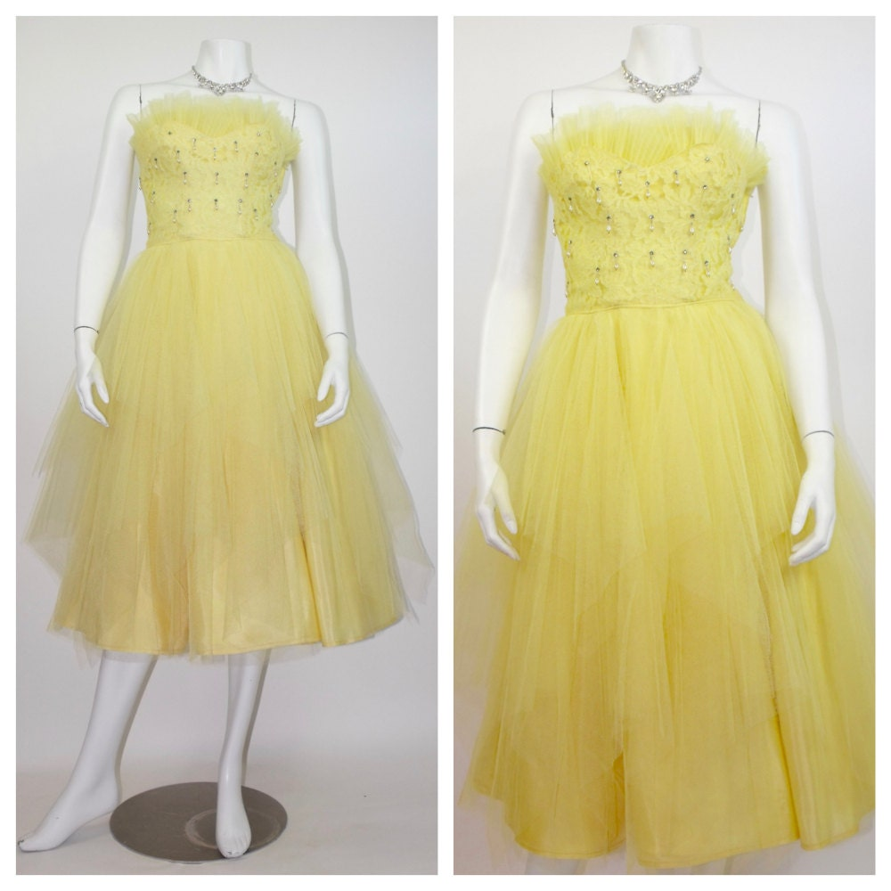 RESERVED 1950\'s Lemon Yellow Cupcake Prom Dress / Rockabilly ...