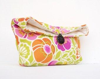 Pink Orange Green Floral Clutch Purse, Starburst, Bridesmaid Gift, Spring Wedding, White, Makeup Bag, Under 25