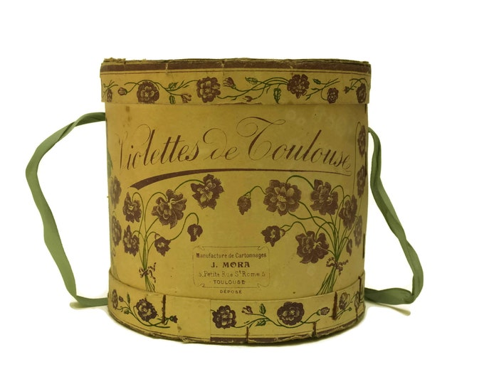 Antique French Candy Box. Violettes de Toulouse Candied Flower Bonbon Souvenir Adverising Box with Old Stamps. Shabby Home Decor and Gifts.