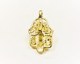 Vermeil,18k gold over 925 sterling silver hamsa hand charm, vermeil hamsa hand, vermeil hamsa, hamsa hand, shiny gold hamsa