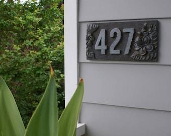 Custom House Sign, Personalised Address House Numbers, Frangipani, Horizontal GREY